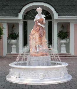 Natural Stone Woman Standing Water Hand Carved Marble Fountain pictures & photos