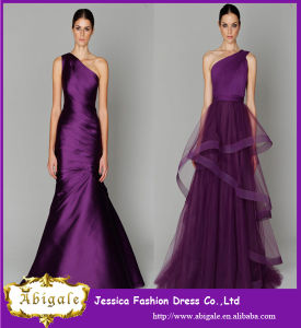 2014 Two Style Floor Length Mermaid Purple Cheap Long Evening Dresses pictures & photos