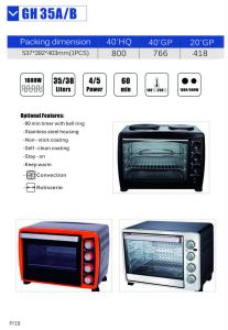 Electric Oven for Household Using with 35/38 Litres (GH35)