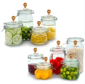 550ml, 750ml, 1100ml, 1500ml Square Round Glass Jar Clip Lid pictures & photos