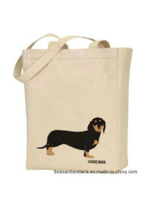 Custom Made Logo Printed Promotional Doggy Pet Natural Duty Cotton Canvas Beach Tote Hand Bag pictures & photos