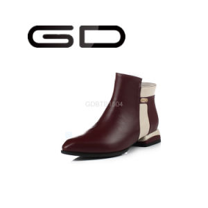 Gdshoe Factory Wholesale Double Color Low Heel Lady Ankle Boots pictures & photos