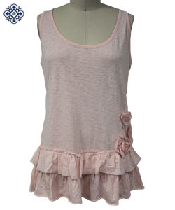 Ladies Cotton Slub Jersey Knitting Shirt Blouse (KA-07)