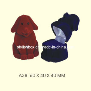 Cute Dog Shape Velvet Jewelry Box for Ring (A38)