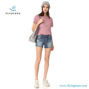 2017 Fashion Girls/Women Jeans Blue MID Rise Cutoff Denim Shorts pictures & photos