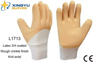 Jersey Liner Latex 3/4 Coated Knit Wrist Safety Work Glove (L1713) pictures & photos