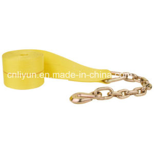 3in Winch Strap / Truck 100% Polyester Safety Strap W/Chain Anchor