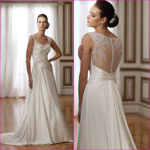 Sheer Lace Back Wedding Dress A-Line Long Bridal Gown (A07) pictures & photos