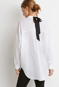 Long Sleeves Ribbon-Back Striped Oversized Shirt pictures & photos