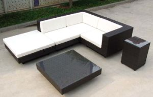 Outdoor Furniture Black Rattan Sofa with Cushion pictures & photos