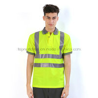 Fluorescent Yellow Breathable Reflective Safety Polo Shirt pictures & photos