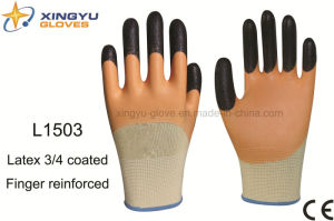 Polyester Shell Latex 3/4 Coated Finger Reinforced Safety Work Glove (L1503) pictures & photos