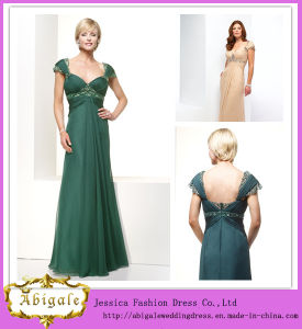 Elegant New Chiffon Cap Sleeve Beaded V-Neck Full Length A-Line Mother of The Bride Dress Yj0101