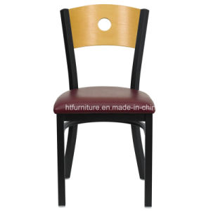 Back Metal Restaurant Chairs Wood Back Plus Vinyl Seat pictures & photos