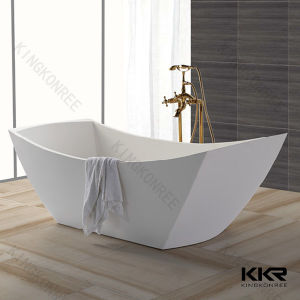 Kkr Oval Shape Solid Surface Bathtub for Hotel pictures & photos
