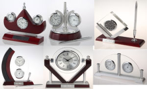 High Quality Business Wooden Desk Clock with Pen K8033 pictures & photos