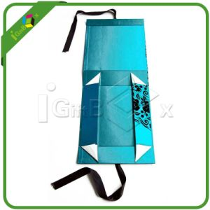 Custom Foldable Paper Box with Magnet Closure Silk Ribbon pictures & photos