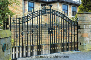 Beautiful Hand-Crafted Wrought Iron Double Swing Gates for House pictures & photos