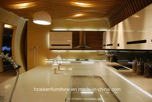 New Simpe Kitchen Furniture Lacquer Glossy Kitchen Cabinet Modern Design pictures & photos