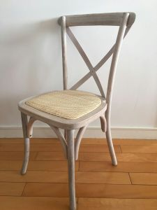 Oak Wood Limewash Cross Back Chairs with Rattan Pads pictures & photos