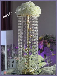 New Wedding Centerpiece Crystal Flower Stand with Votive Candle Holder