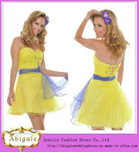 Cute Hot Short Mini Organza Sash Beaded Sequins Sweetheart Sleeveless Cheap Yellow Cocktail Dresses Yj0084
