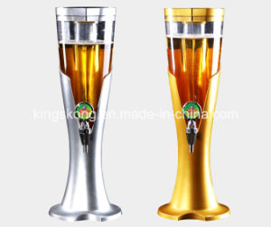 Beer tower dispenser with ice tube