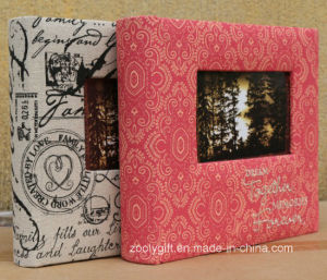 Design Embroided Linen Fabric Photo Albums with Window pictures & photos
