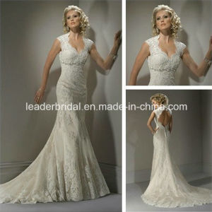 Cap Sleeves Bridal Gown Mermaid Lace Rhinestones Customized Wedding Dress Mg99 pictures & photos