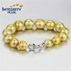 10-13mm Golden Color AA+ Round Natural Freshwater Cultured Pearl Bracelet