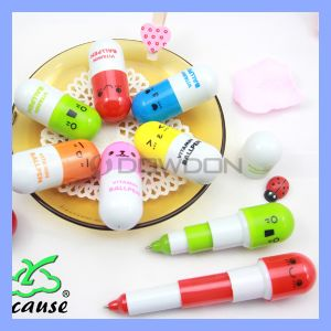 6 Lovely Expression Pill Shape Stationery Plastic Ballpoint Pen Logo Custom pictures & photos