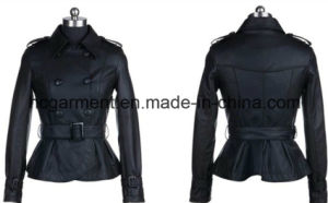 Fashion Punk PU Belt Jackets for Lady/Women, Leather Coat pictures & photos
