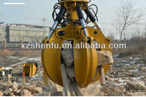 Sf 5 Teeth Hydraulic Rotating Grapple Excavator Orange Grapple / Grab pictures & photos