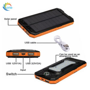 Portable Solar Cell Charger 10000mAh Power Bank with Compass pictures & photos
