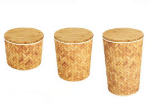 Simple Design Bamboo Storage Set Bamboo Fiber Round Canister Set pictures & photos