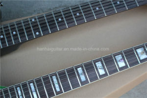 Hanhai Music/Green 12+6 Strings Double Neck Electric Guitar pictures & photos