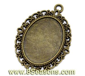 Bronze Tone Oval Frame Cameo Settings 39x29mm Findings (Fit 25x18mm) (B09376)