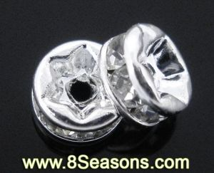 Silver Plated Rhinestone Rondelle Spacers Beads Findings 5mm (B04278)