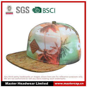 Flat Brim Visor Snapback Hat with Colorful Printing for Adults Size