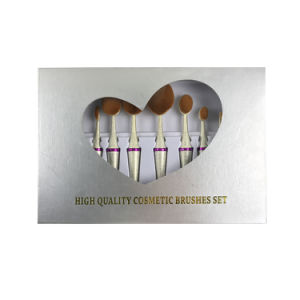 10PCS Mermaid Shaped Oval Cosmetic Makeup Brushes Set pictures & photos