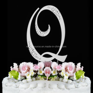 French Font Rhinestone Initial Letter Wedding Cake Topper for Wedding pictures & photos