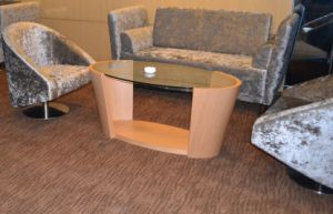 Oval Coffee Table Glass Wooden Furniture pictures & photos
