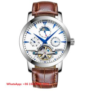Simple Fashion Automatic Men′s Watches with Genuine Leather Strap Fs680 pictures & photos