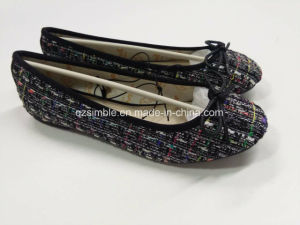 Colorful Fabric Women Flat Ballet Walking Shoes pictures & photos