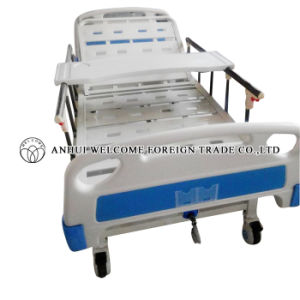 ABS Single Crank Manual Hospital Bed with Overbed Table pictures & photos