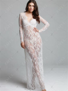 Eaby Hot Sale White Sexy Deep V-Neck Long Sleeve Lace Elegant Long Dress (17010) pictures & photos
