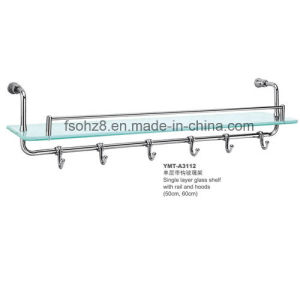 Portable Design Bathroom Ss Glass Shelf with Coat Hooks (YMT-A3112) pictures & photos