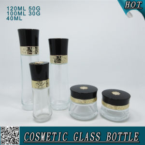 New Design Customized Cosmetic Glass Material Bottle Cream Set pictures & photos