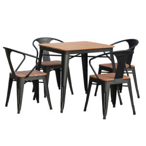 Patio Garden Home Hotel Office Metal Teak Colour Polywood Table and Dining Chair (J833) pictures & photos