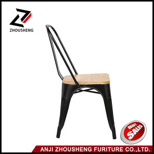 2016 New Adeco Metal Stackable Industrial Chic Dining Bistro Cafe Side Chairs with Wood Seat pictures & photos
